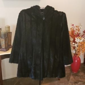 Pamela McCoy Hooded Faux Mink Coat